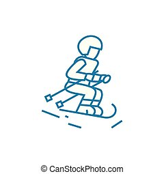 Cross-country skiing linear icon concept. Cross-country skiing line vector sign, symbol, illustration.