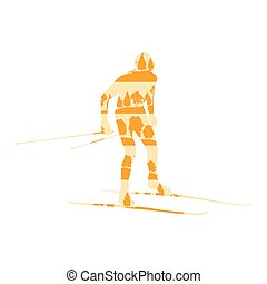 Cross country skiing man vector background abstract concept made of forest trees fragments isolated
