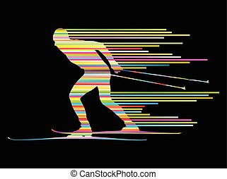 Cross country skiing vector background concept man made of stripes