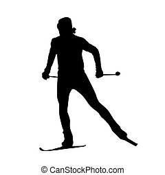 Cross country skiing vector silhouette