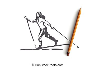 Cross, country, skiing, winter, sport concept. Hand drawn isolated vector.