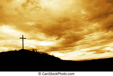 Cross marked the high peak of the mountains