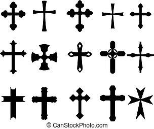 Set of religious cross symbols isolated on white