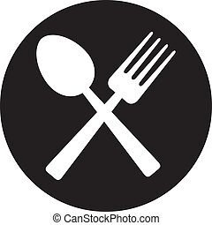 crossed fork and spoon (food icon, food symbol)