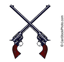 Two long barel six guns crossed set on a white background