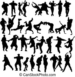 Huge crowd of dancers silhouettes with several styles.