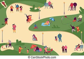 Crowd of various people walking in park flat vector illustration