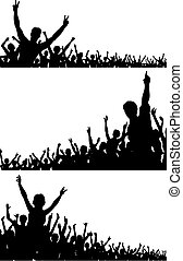 Set of editable vector crowd silhouettes with each person as a separate object