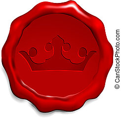 Crown on Wax Seal Origianl Vector Illustration Wax Seal Letter Stamp Ideal for Old Style Concept