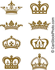 A series of ornate golden crown design elements.