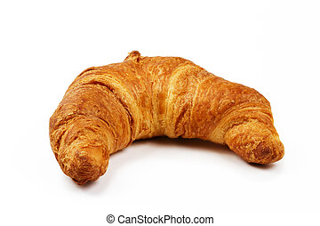 crusty brown croissant on white background
