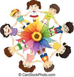 Kids holding hands around colourful flower