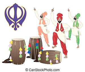 a vector illustration in eps 10 format of a punjabi drums male dancers and the sikh symbol on a white background in greeting card format