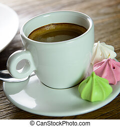 Cup of Americano coffee for afternoon tea break