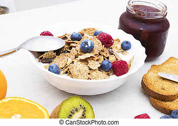 cup of cereals with natural fruits, healthy and balanced breakfast