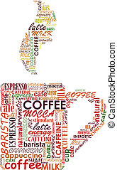 Cup of coffe with tags cloud for cafe or restaurant design