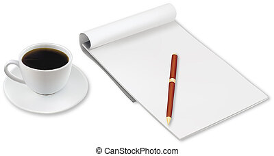 Cup of coffee and office notebook.