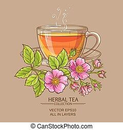 cup of dog rose tea
