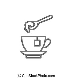 Cup of tea with honey spoon line icon.