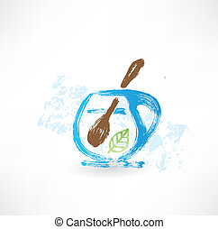 Cup of tea with spoon grunge icon