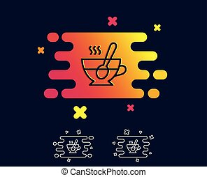 Cup with spoon line icon. Fresh beverage sign.