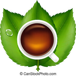 Cup With Tea And Green Leaves