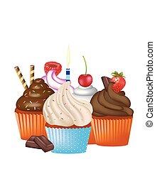 Cupcakes set on white background
