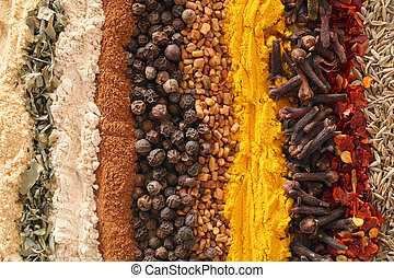An assortment of spices used in curries. From left: ginger, methi (fenugreek leaves), garlic powder, cinnamon, black pepper, fenugreek seets, turmeric, cloves, crushed chilies, cumin seeds.