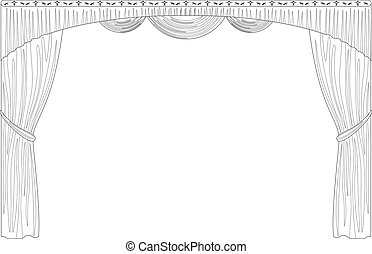 Theater curtain, black contour isolated on white background. Vector