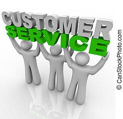 Three customer service representatives lift the words