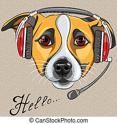customer service worker dog Jack Russell Terrier, call center operator with phone headset says Hello
