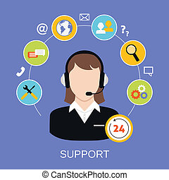 24h online worldwide available customer support helpdesk woman operator service concept vector illustration