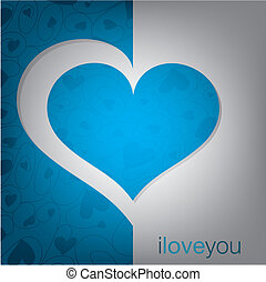 Cut out heart card in vector format.