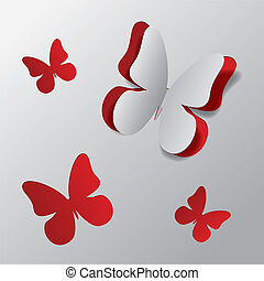White paper with red background and cut out butterfly illustration.