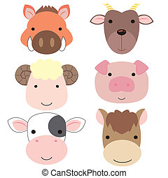 cute animal head icon05