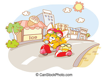 cute animal were riding motorcycles
