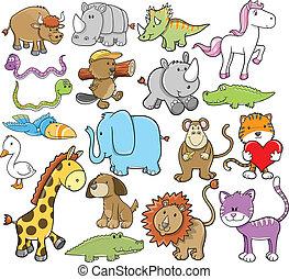 Cute Animal Wildlife Vector Design Elements Set