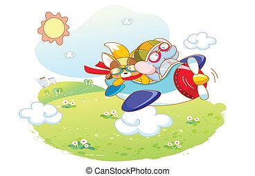animals cartoon playing on a plane