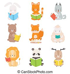 Cute Animals Characters Reading Books Set, Adorable Smart Cat, Panda Bear, Lion, Lamb, Fox, Wolf, Bunny, Deer Sitting with Books Vector Illustration