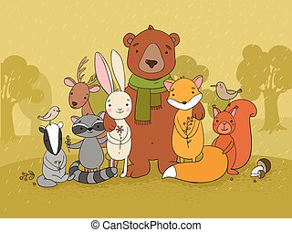 Cute animals of the forest.