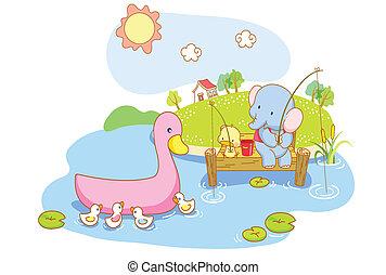 cute animals were fishing