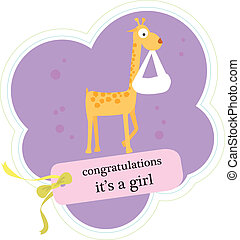 cute baby announcement card with animal
