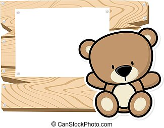 cute baby bear frame