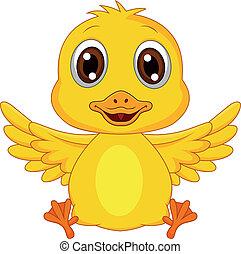 Vector illustration of cute baby duck cartoon