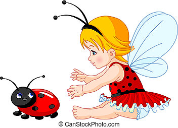 The little fairy girl tries to catch a ladybird