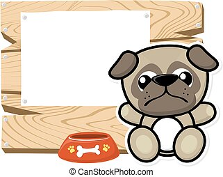 cute baby pug frame