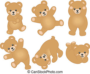 Scalable vectorial image representing a cute baby teddy bear, isolated on white.