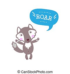 Cute baby wolf with funny text
