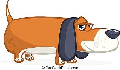 Cute Basset Hound dog cartoon. Vector illustration isolated on white background