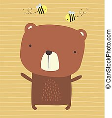cute bear and bees